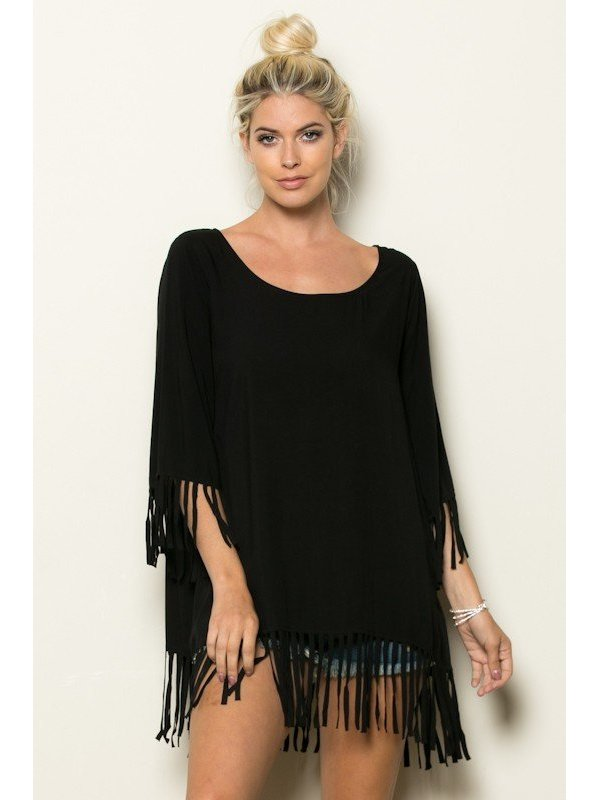 Arcade Attire Sleeve Bottom Fringe Tunic Top
