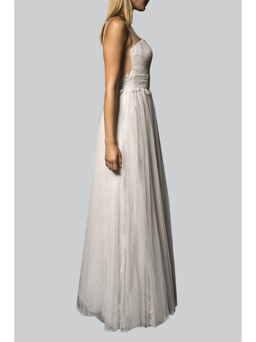 Narces Lace Detail Sheer Back Bridal Gown