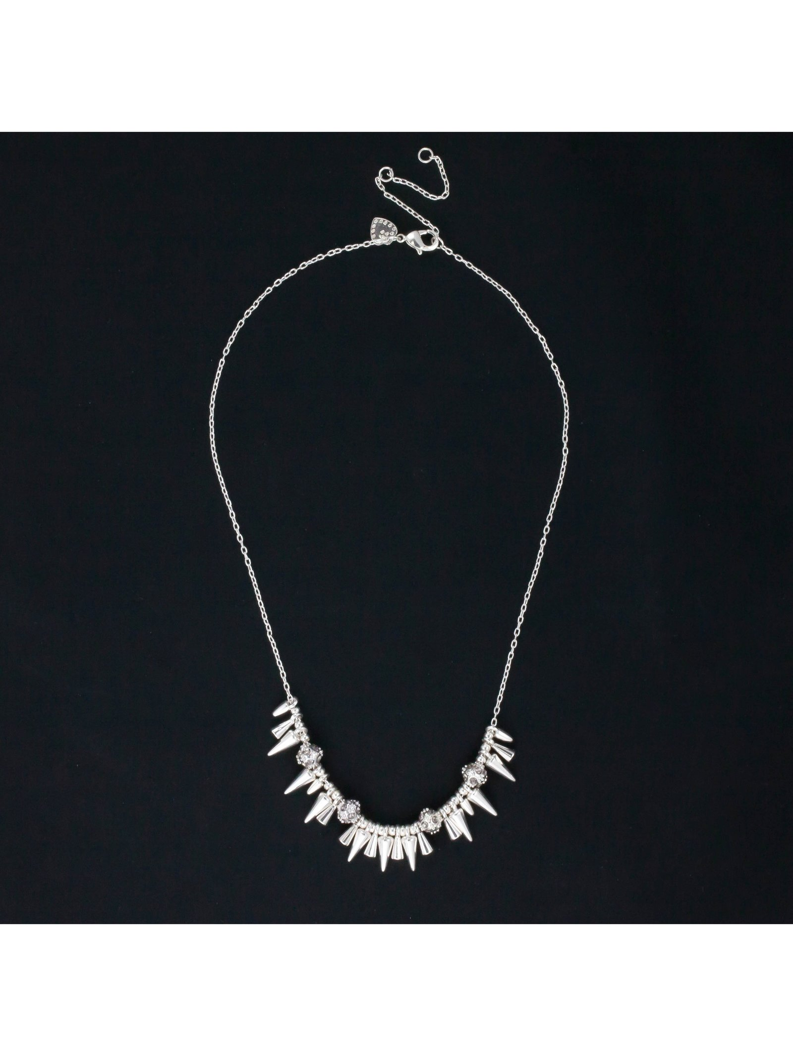 TotallyJewel Rivet Mini Spikey Necklace Silver