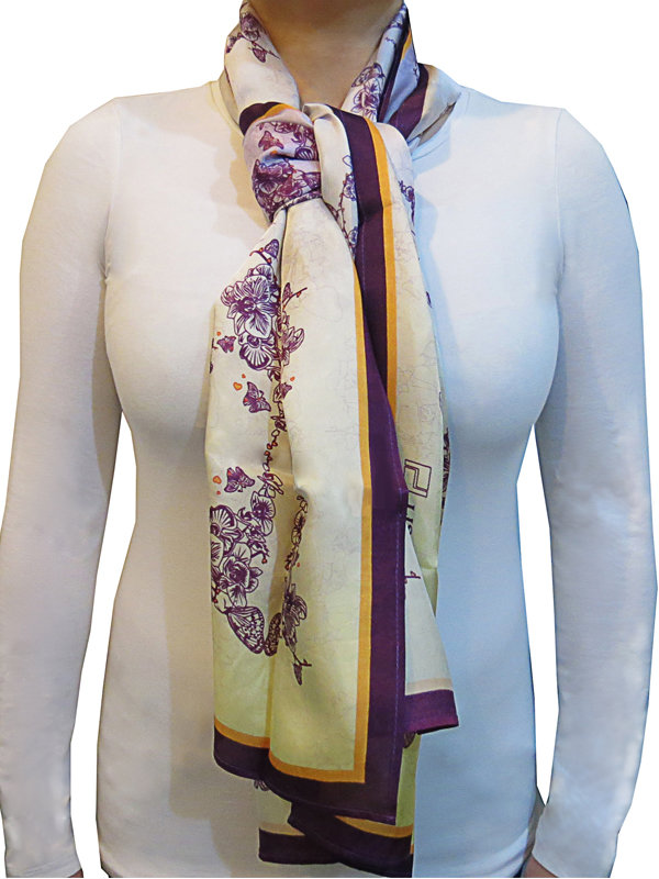LISAN LY ORCHID PRINT SCARF
