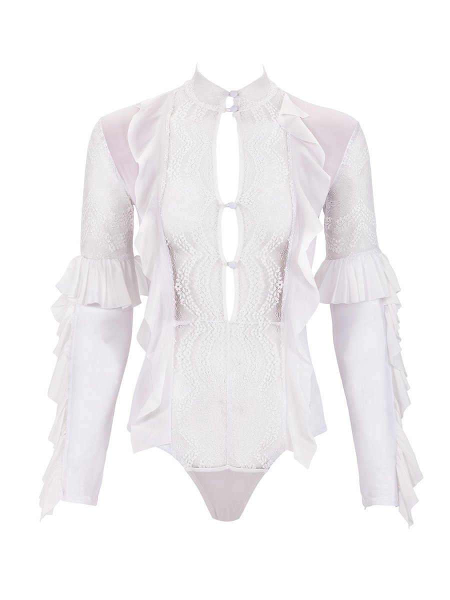 For Love & Lemons Eva Lace Ruffle Bodysuit