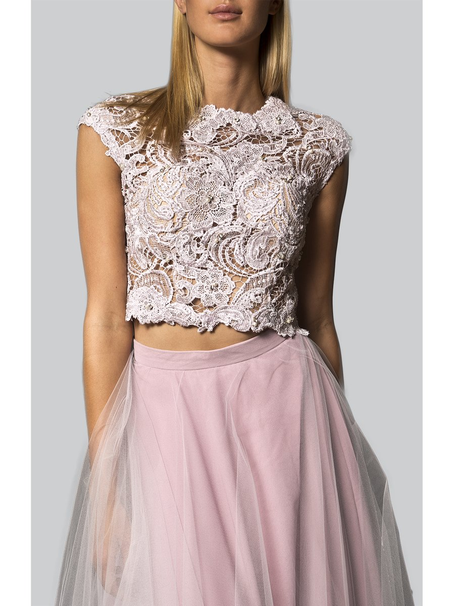 Narces Two Piece Lavender Lace Top Tulle Skirt