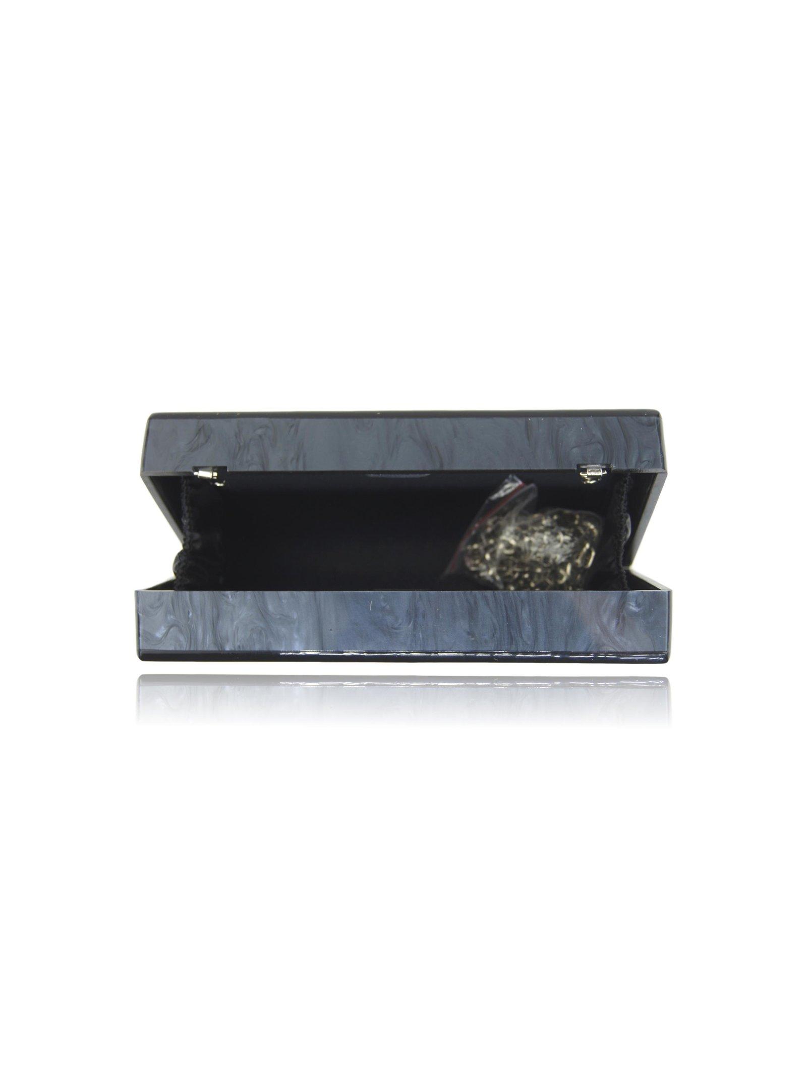 Milanblocks Black Silver Skull Acrylic Clutch
