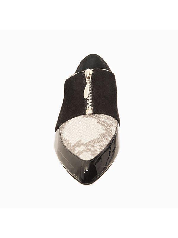 Kari C. Lottie Black Suede Python Patent Leather Loafers