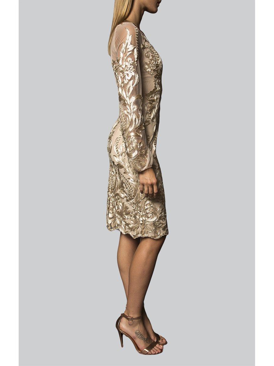 Narces Golden Lace Embellished Dress