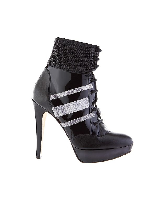 Kari C. Nikita Lace-Up Snakeskin Leather Ankle Boot