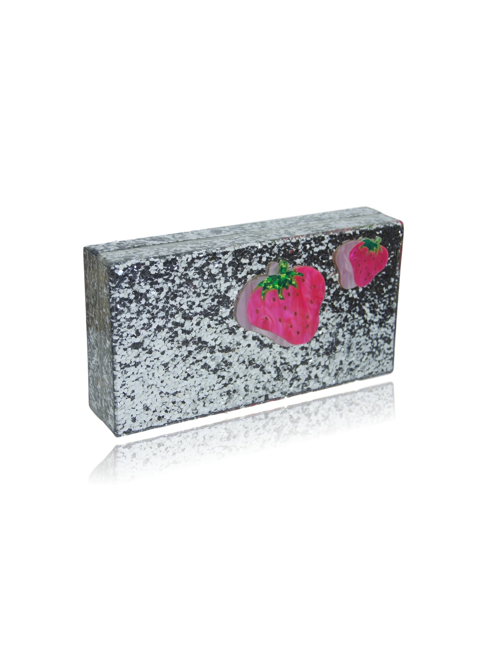 Milanblocks Strawberry Silver Glitter Box Clutch