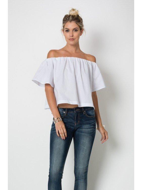 Arcade Attire Off The Shoulder Tunic Top - White