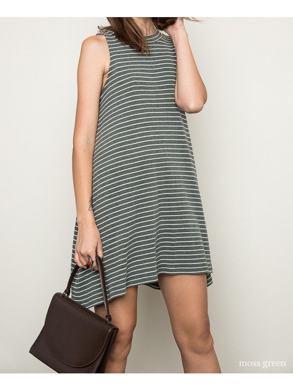 Arcade Attire Stripe Mock Dress - Moss Green