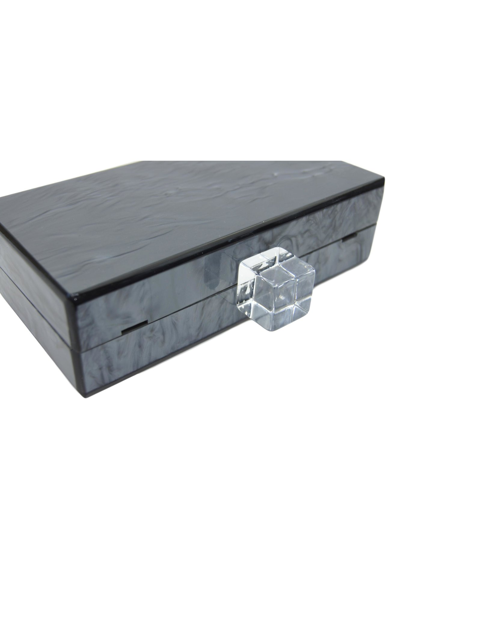 Milanblocks Metallic Charcoal Acrylic Box Clutch