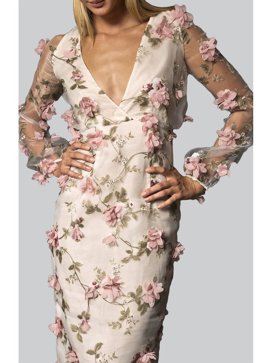 Narces 3D Floral Embroidery Cocktail Dress