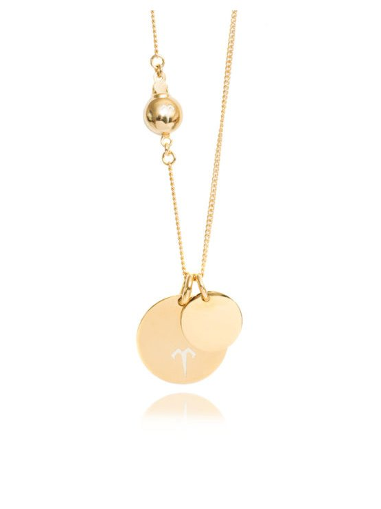 Ternary London DOUBLE COIN PENDANT LONG NECKLACE GOLD
