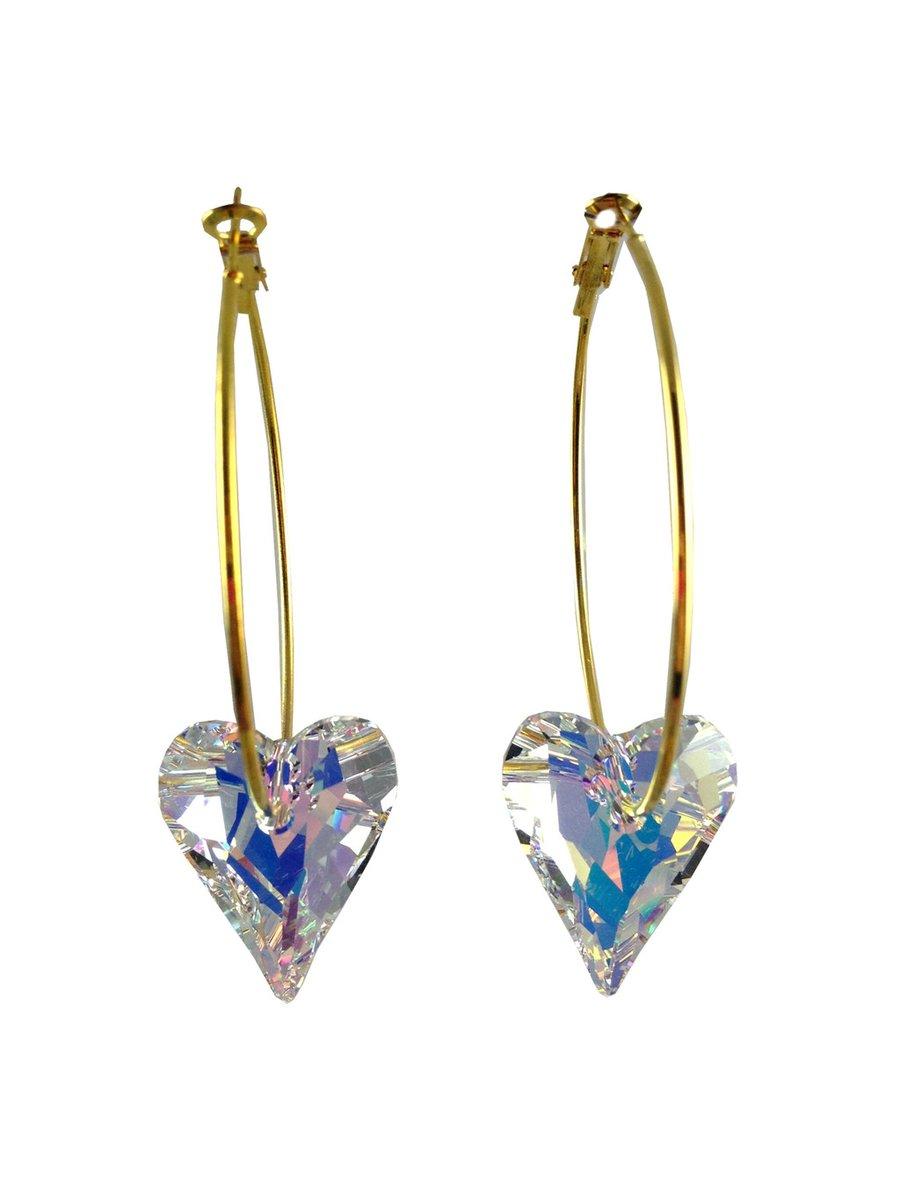 MizDragonfly Swarovski Crystal Heart Earrings White