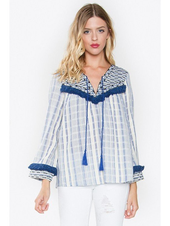 Arcade Attire Sofia Long Sleeve Fringe Top