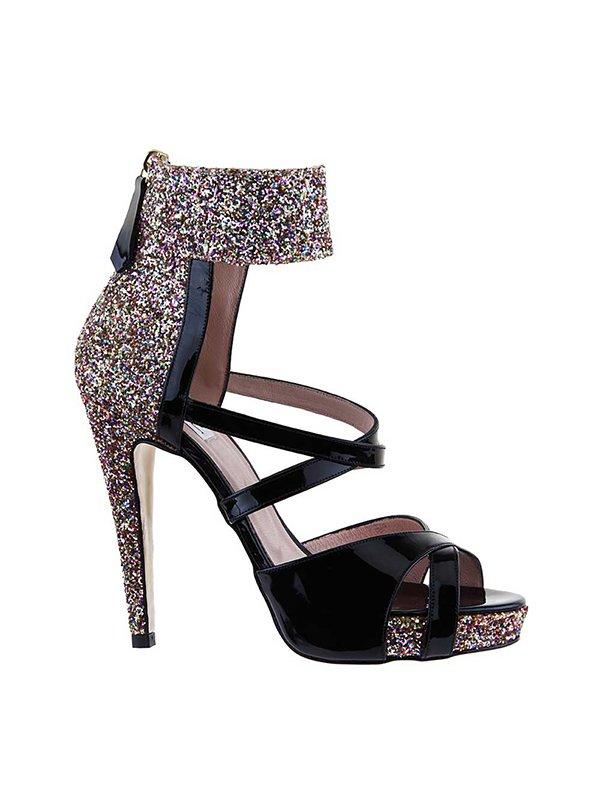 Kari C. Dahlia Black Open-Toe Glitter Heel Sandal
