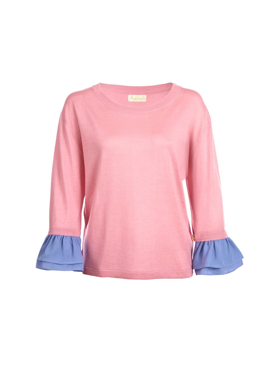 Asneh Agnes Candy Pink Silk Cashmere Top with Ruffle-trimmed Sleeves