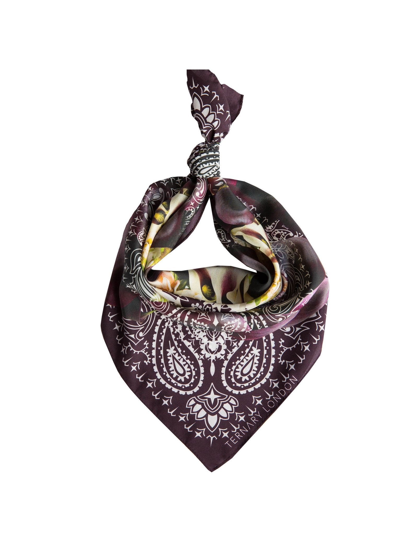 Ternary London CALLA PURPLE FLORAL SILK BANDANA NECK SCARF