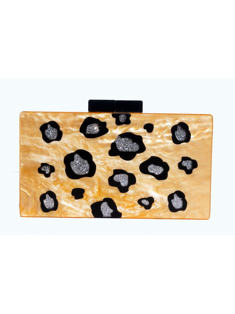 Milanblocks Leopard Clutch Glitter Acrylic Box Clutch
