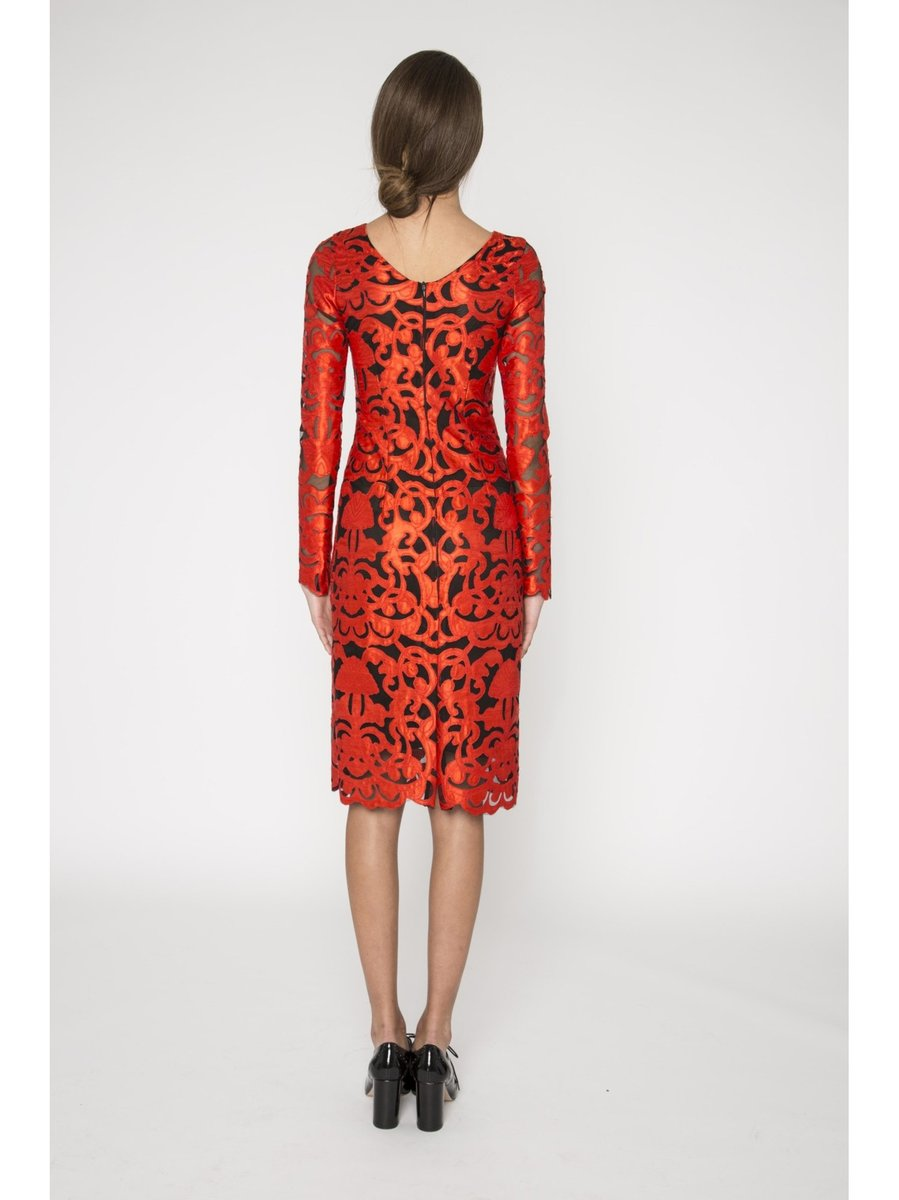 Narces Red Floral Embroidered Lace Dress