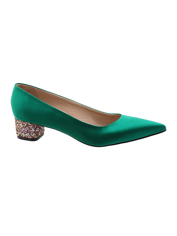 Kari C. Becca Emerald Silk Satin Glitter Heel