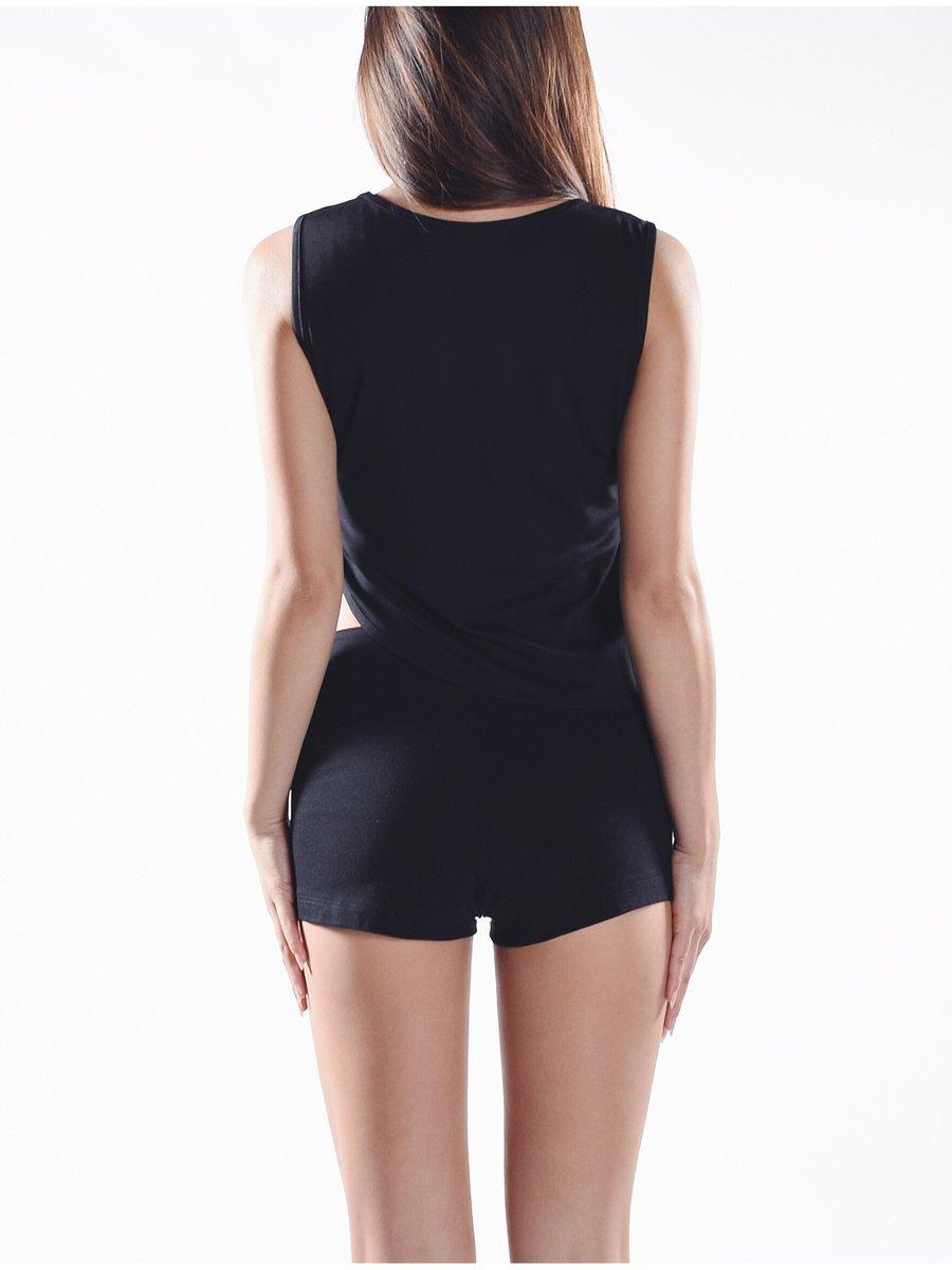 Cara Cheung Lattice Curve Hem Top - Black