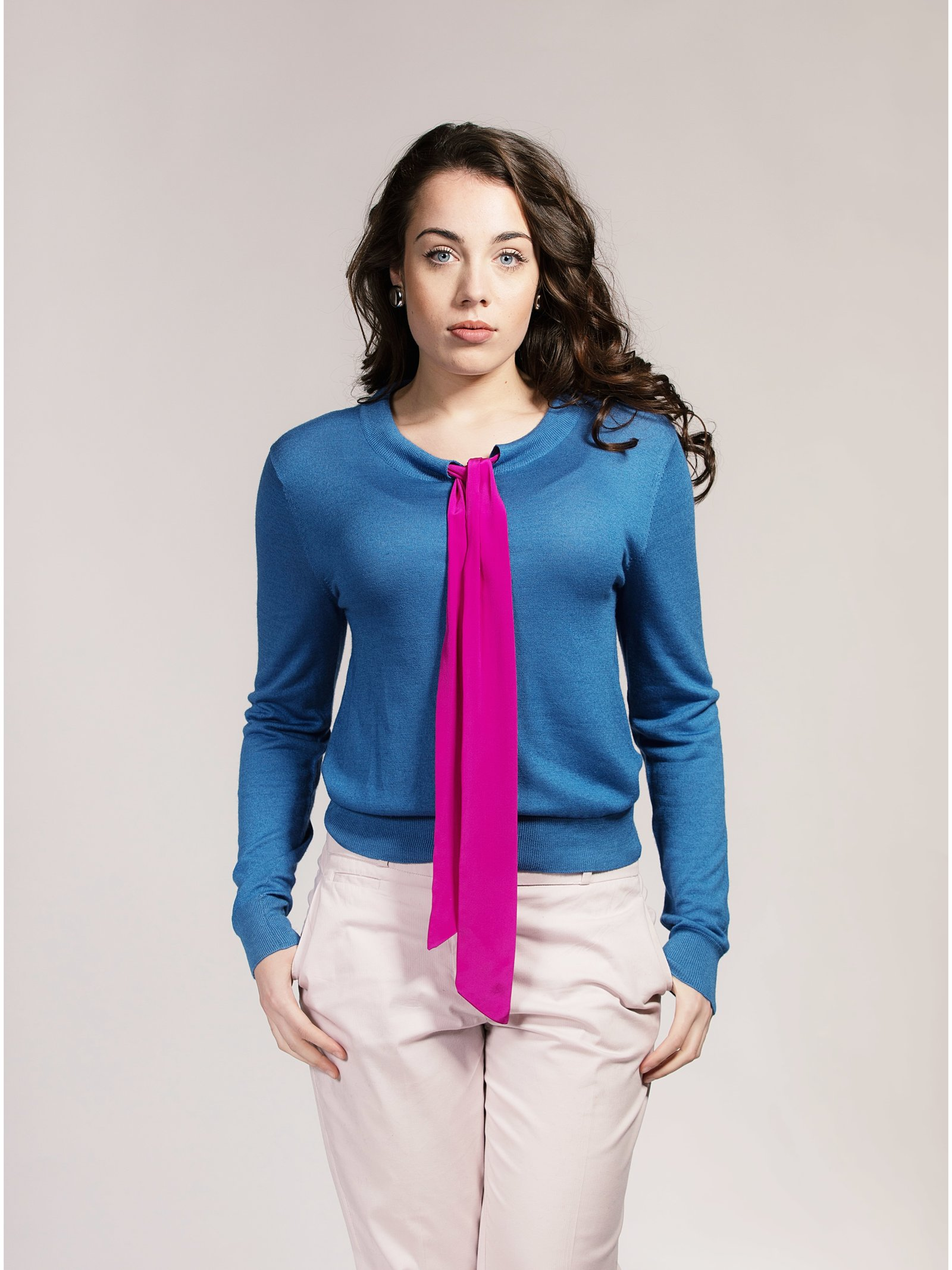 Asneh Blue Helen Silk/Cashmere Sweater with Pink Silk Pussy-Bow