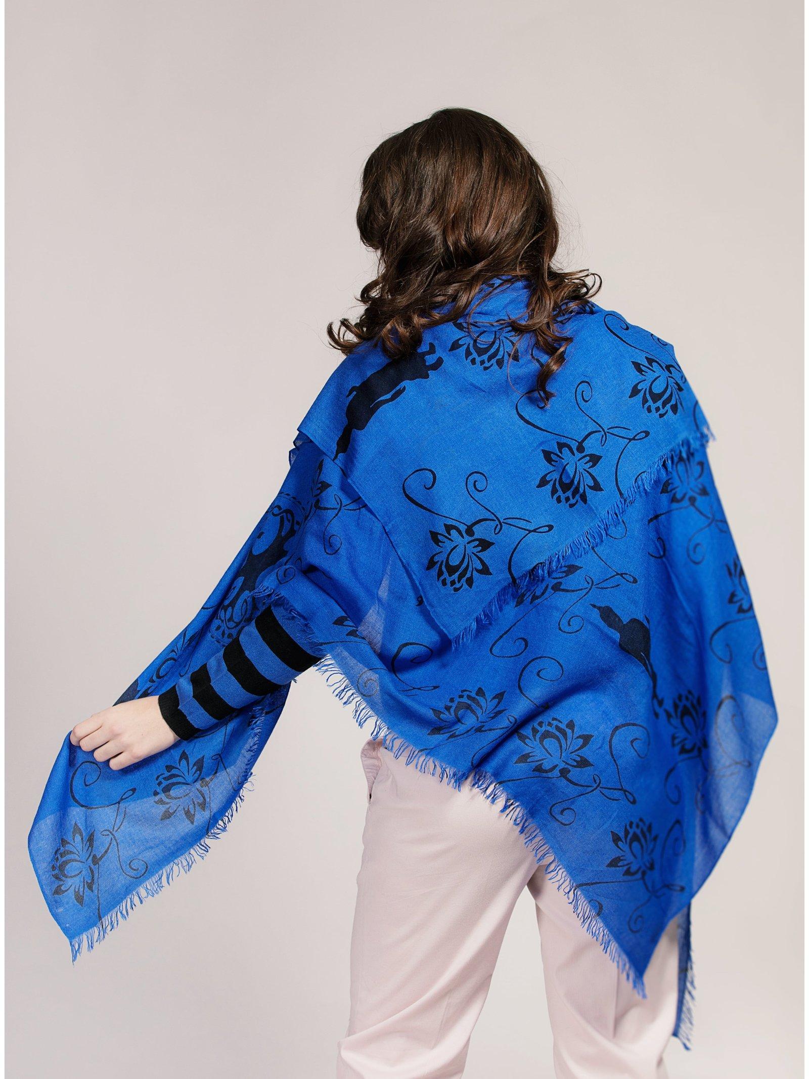 Asneh Lotus Print Scarf in Silk Cashmere