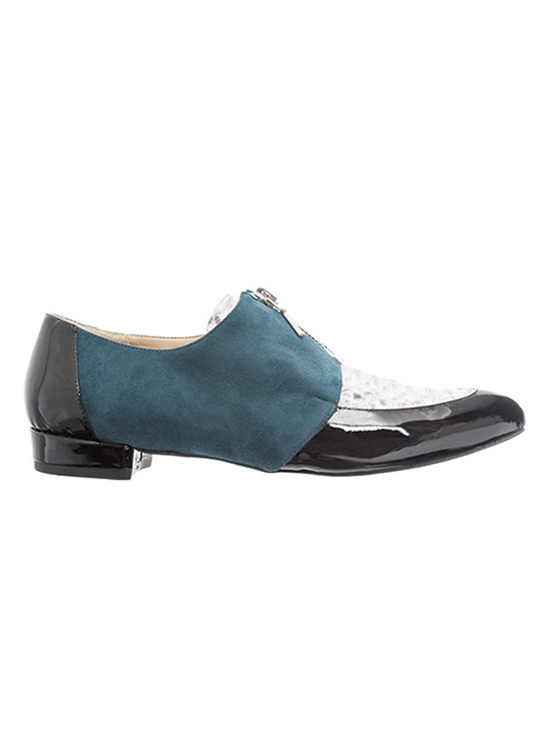 Kari C. Lottie Green Suede Python Patent Leather Loafers