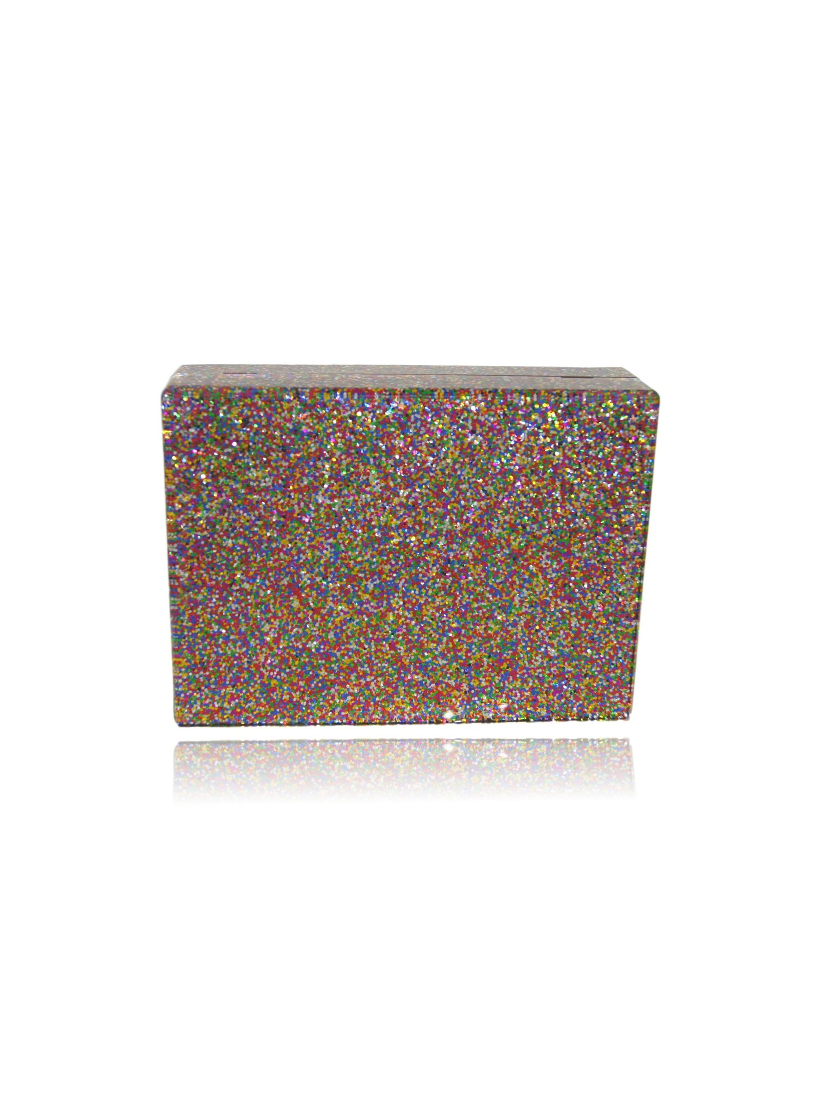 Milanblocks Rainbow Glitter Acrylic Box Clutch