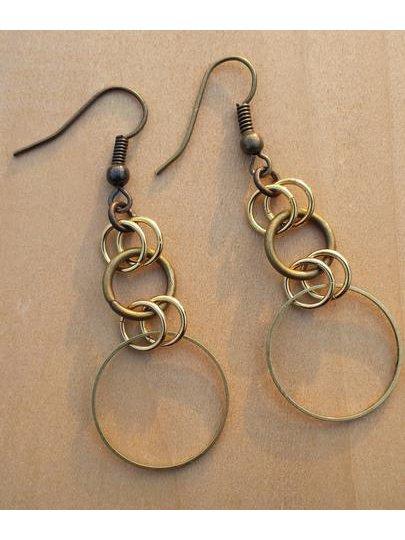 Monoxide Style Brass Double Loop Earrings