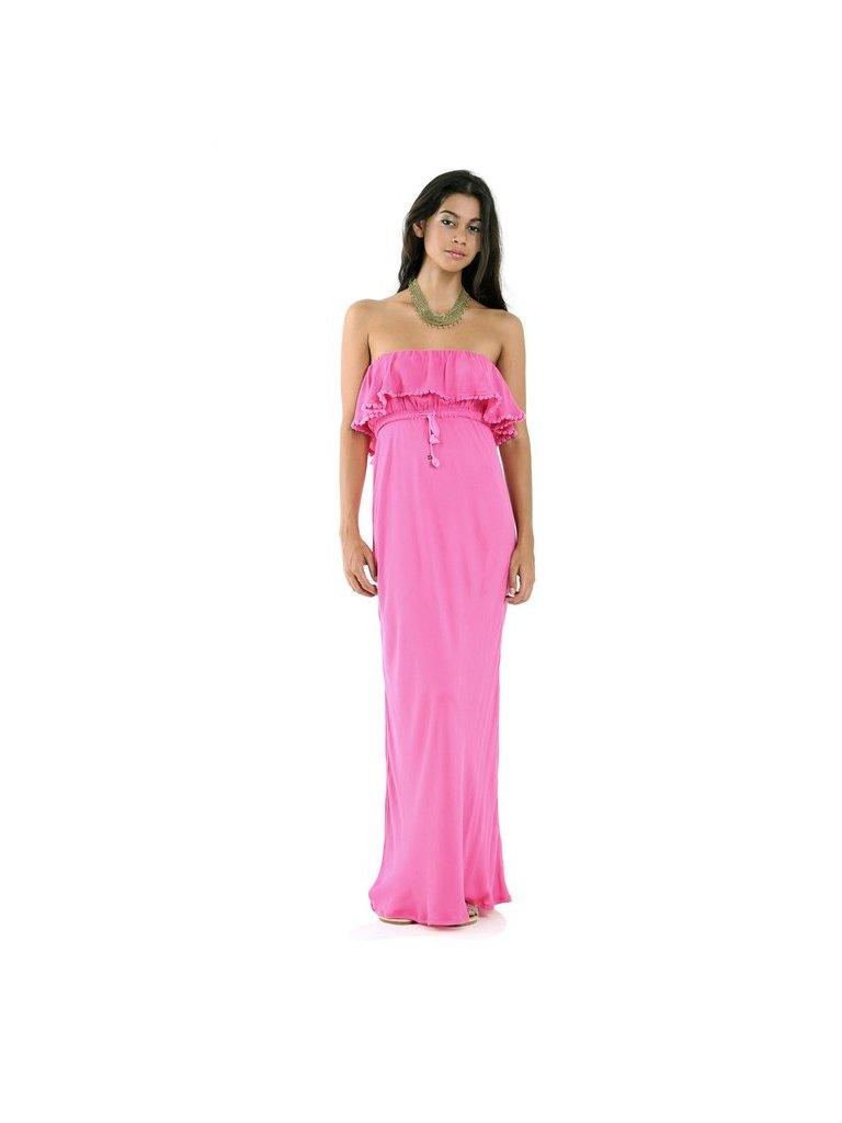 Tulle & Batiste Lulu Off The Shoulder Dress Magenta