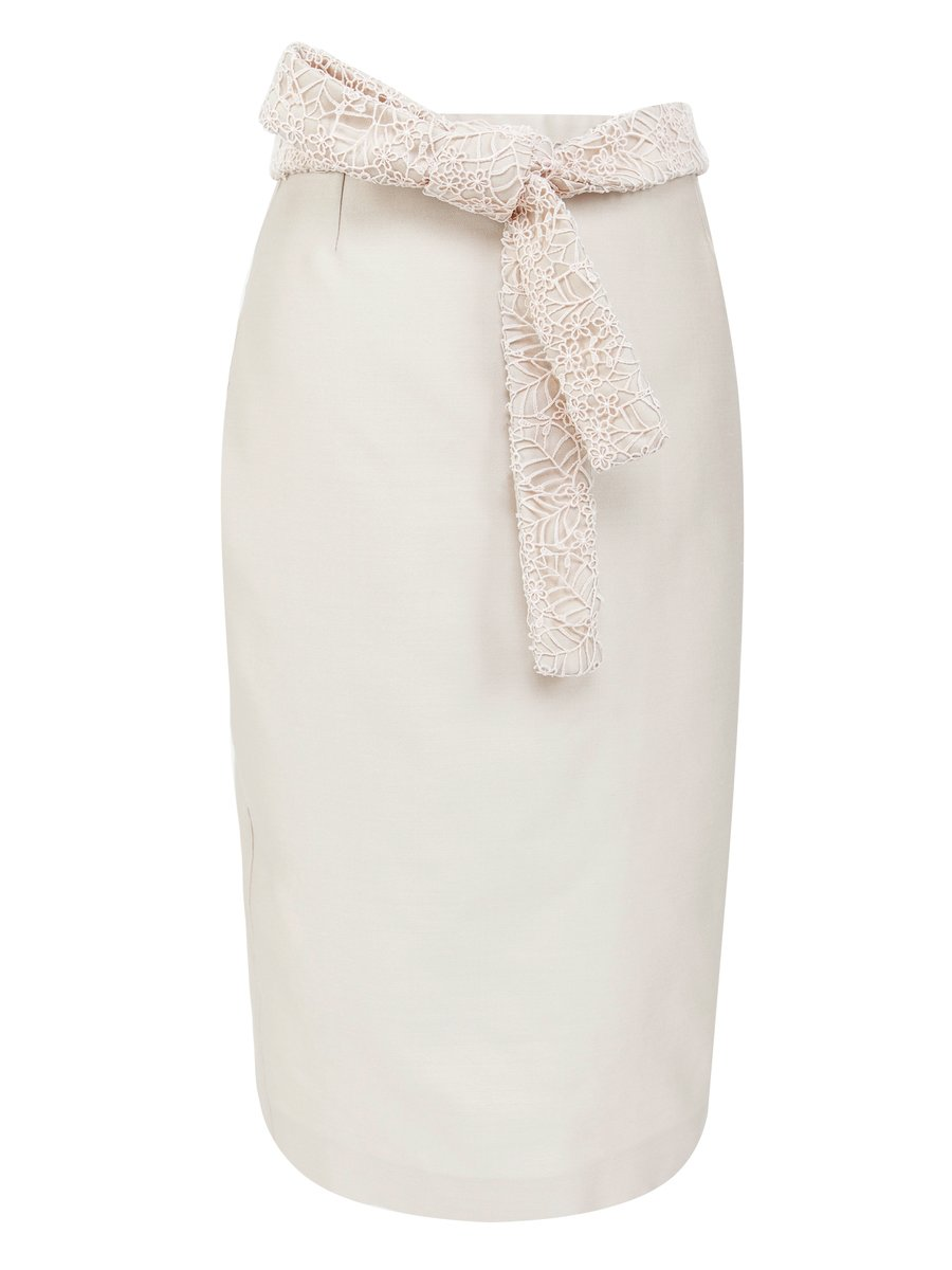 LIZA VETA Pencil Skirt With Floral Belt