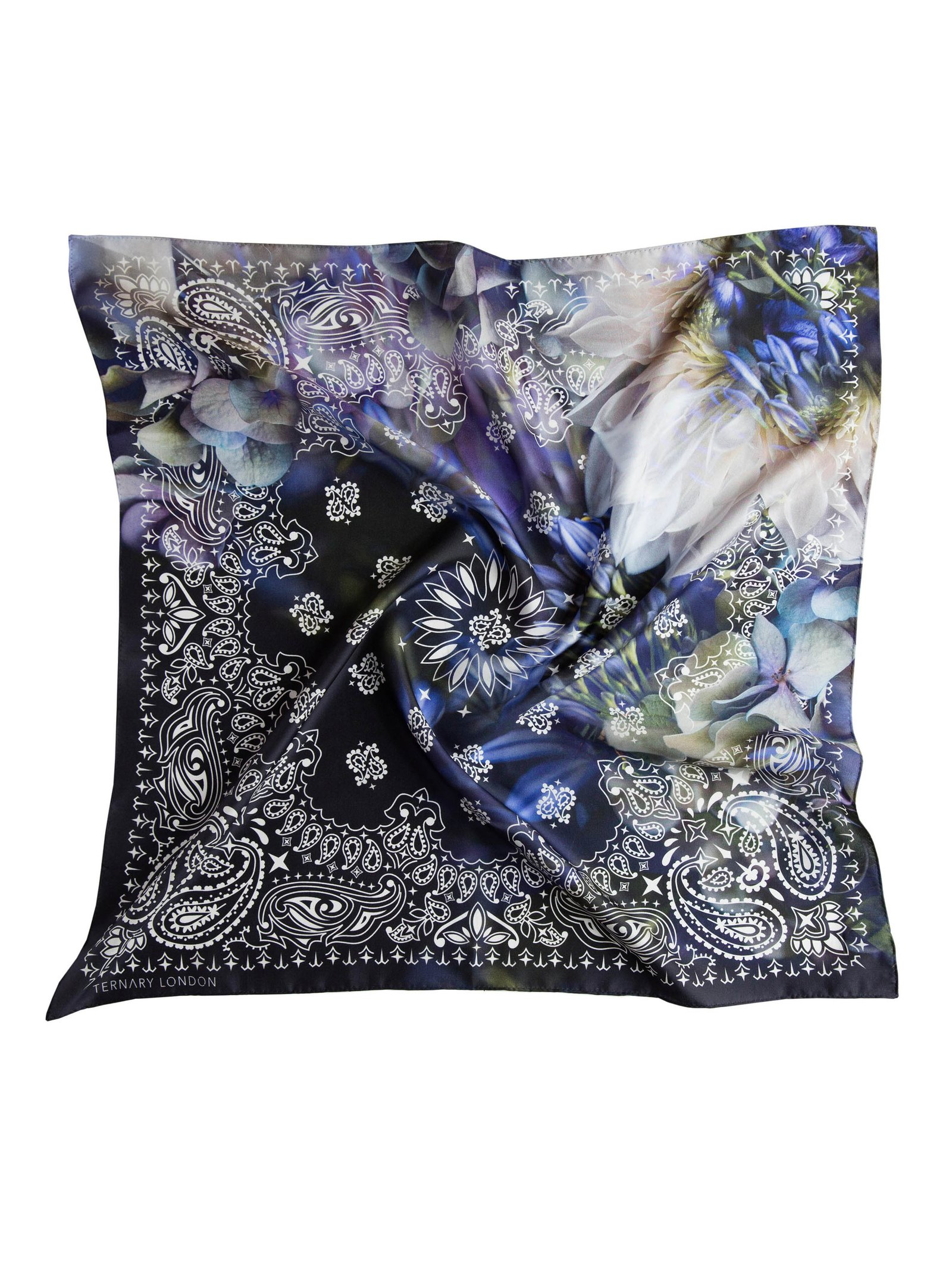 Ternary London BLUE HYDRANGEA FLORAL SILK BANDANA NECK SCARF