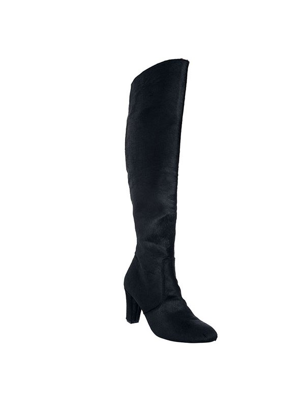 Kari C. Cora Black Pony Skin Tall Boot