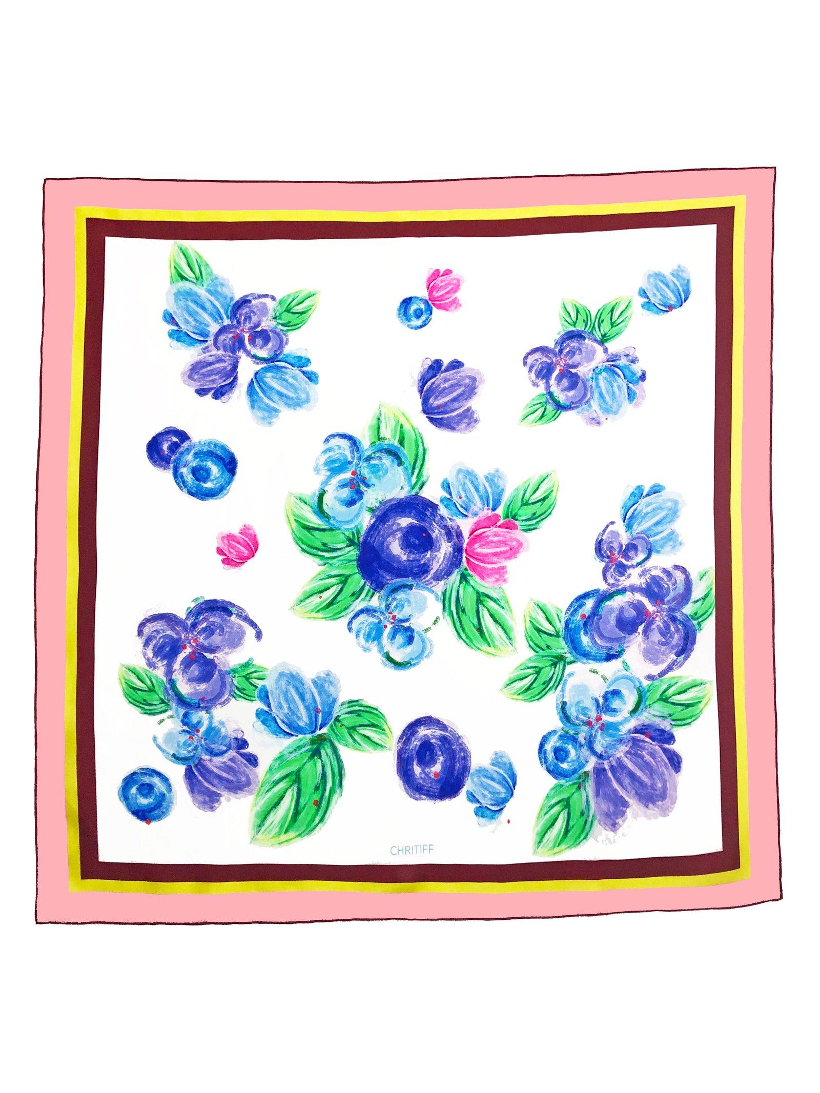 CHRITIFF Cherry Blossom Scarf (Azure Blue) 90cm