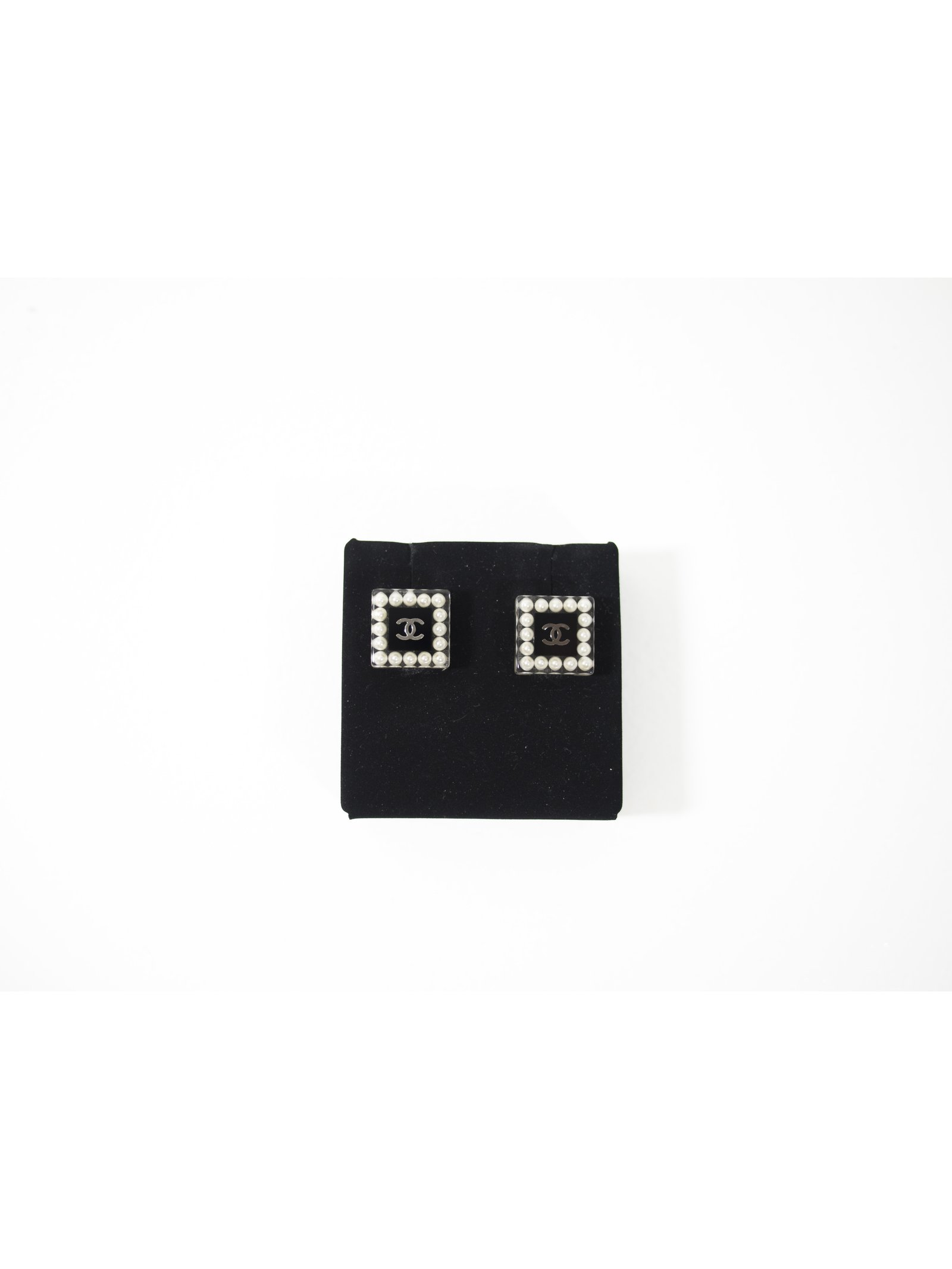Chanel Chanel Pearl CC Square Stud Earrings