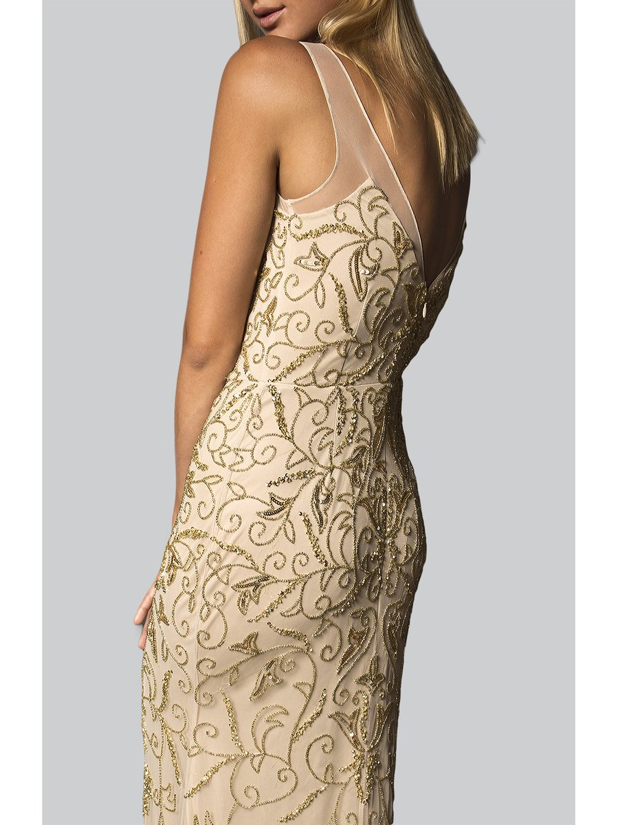 Narces Champagne All Over Embellished Gown
