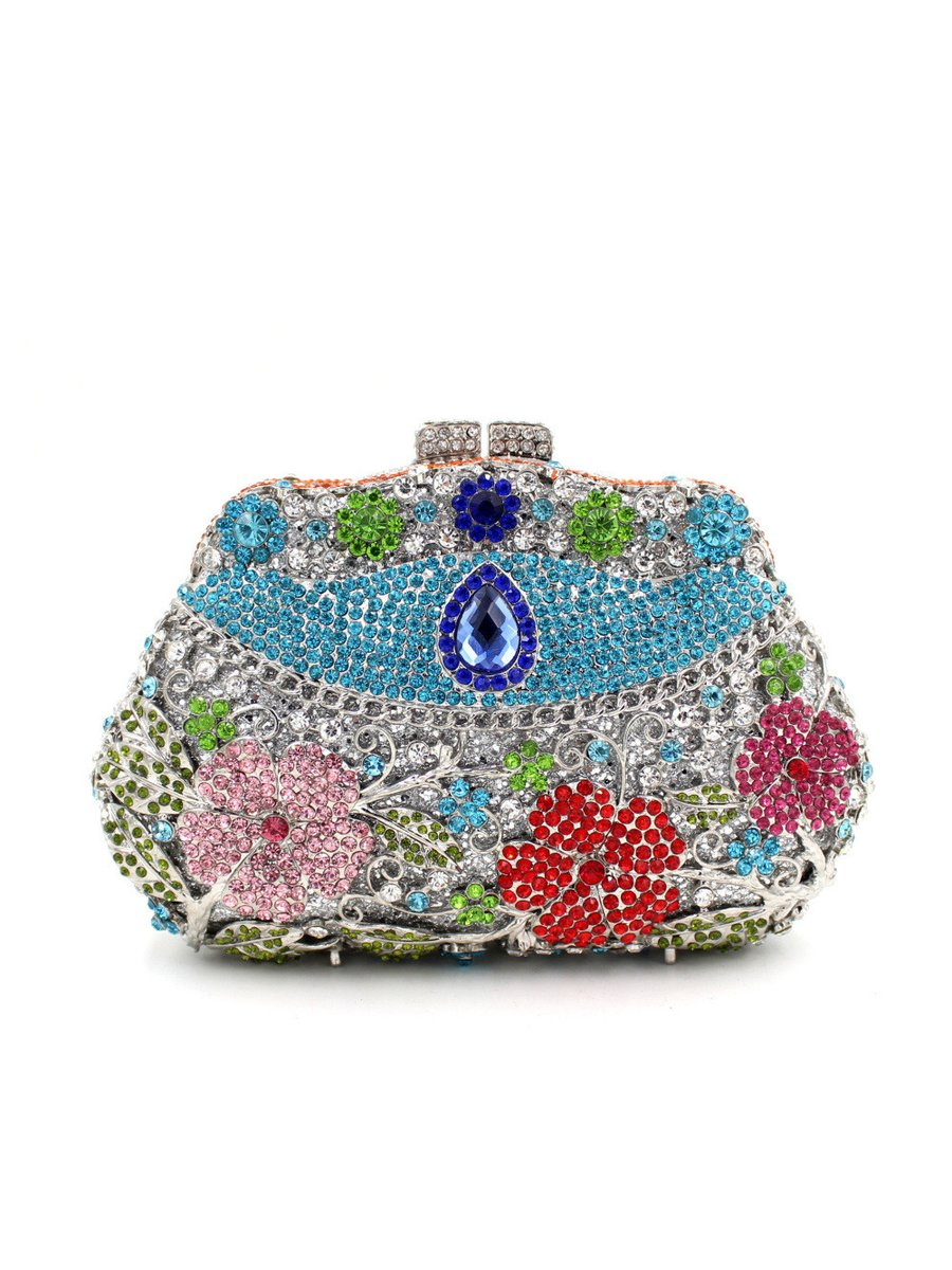 Milanblocks Rhinestone Minaudiere Metal Box Clutch