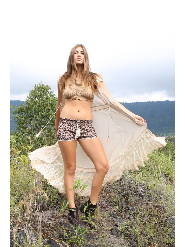 Tulle & Batiste Savannah Lace Shorts Chestnut