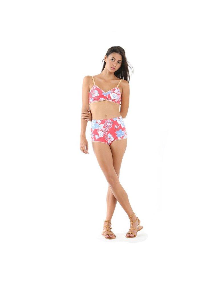 Tulle & Batiste Camelia Bloomers Bikini Bottom Red
