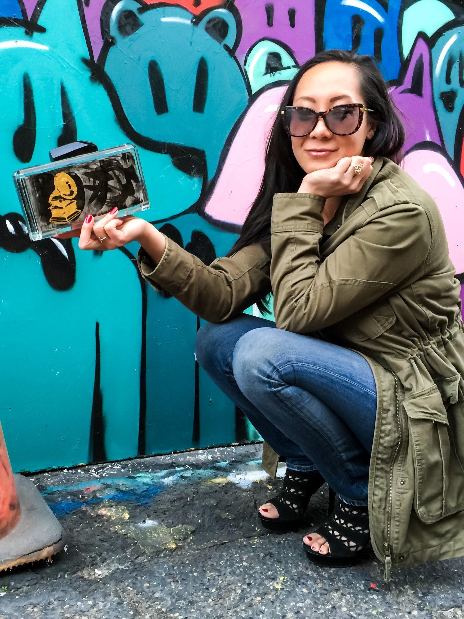 Stefanie Phan Last Dance Hand Painted Graffiti Acrylic Clutch