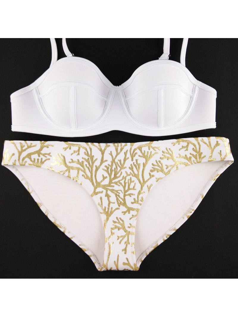 COCONAUTICAL Faith - White Gold Coral Printed Neoprene Bikini