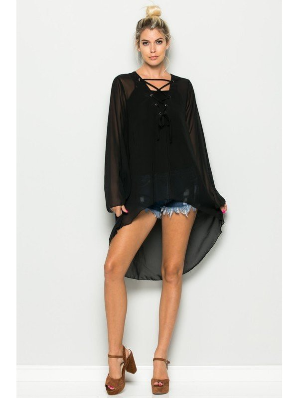 Arcade Attire Sheer High Low Long Sleeve Top - Black