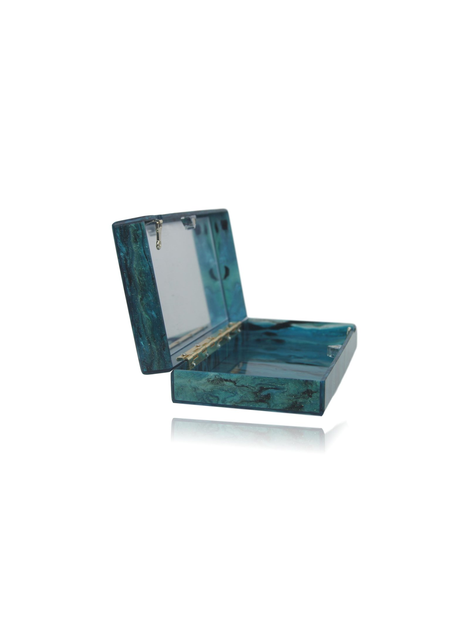 Milanblocks Sea Green Glitter Acrylic Box Clutch with Mirror