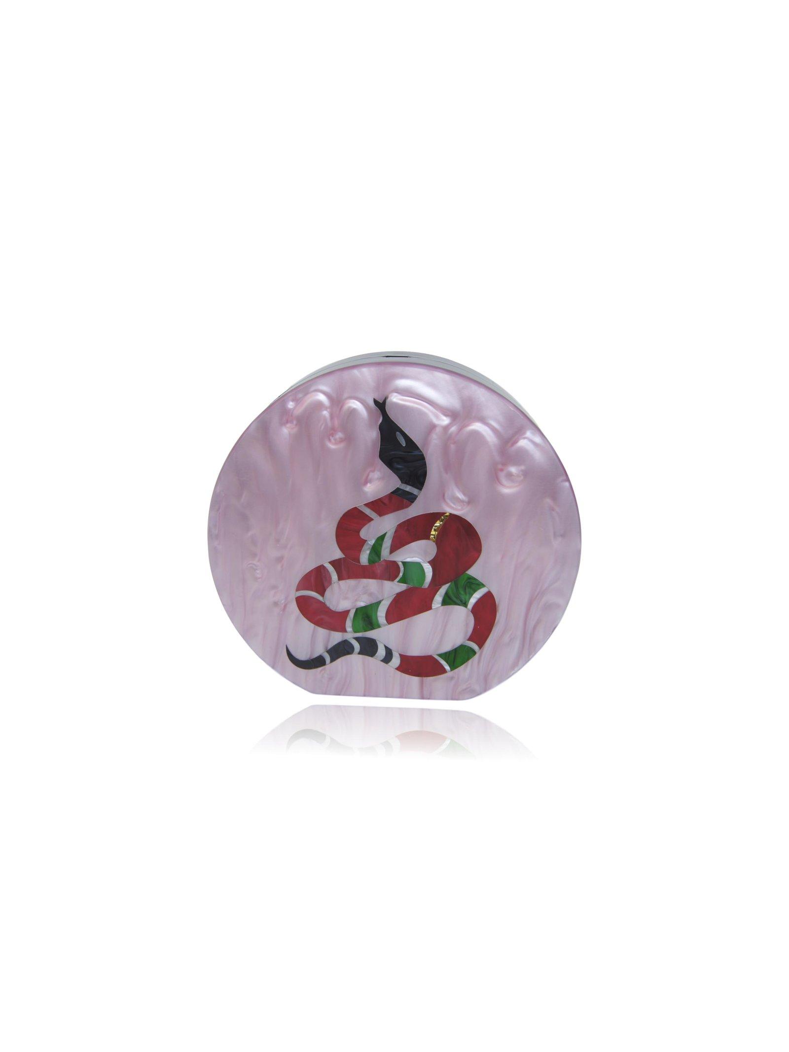 Milanblocks Blush Pink Snake Half-Round Acrylic Clutch