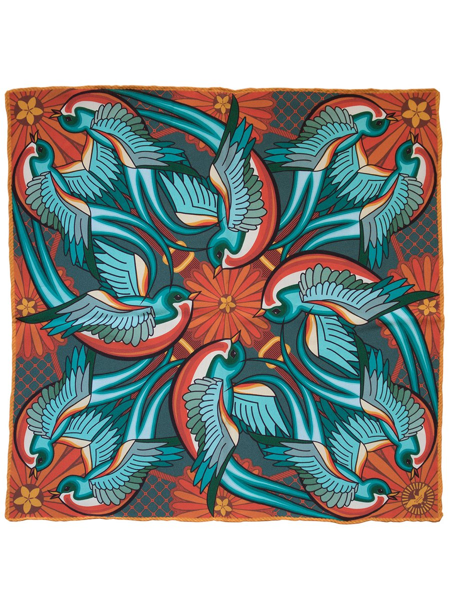 Furious Goose We are on a Journey – Silk Pocket Square Jade