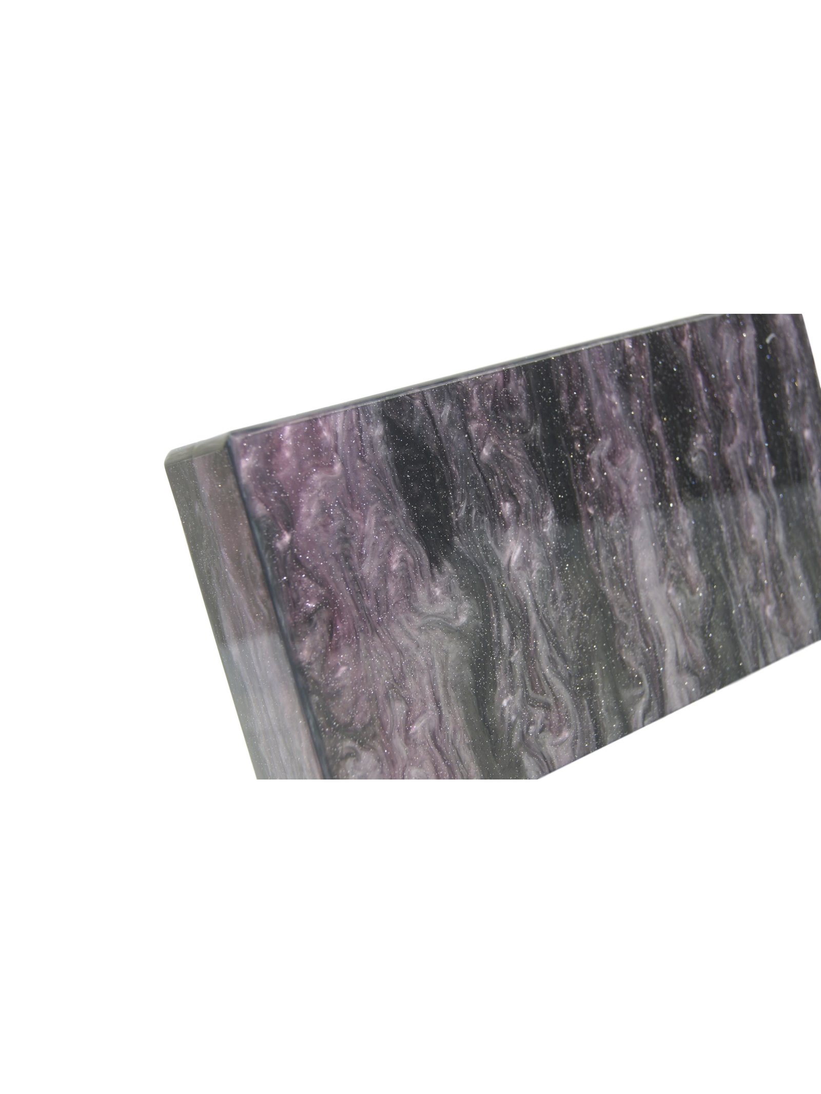Milanblocks Deep Purple/Black Glitter Acrylic Box Clutch with Mirror