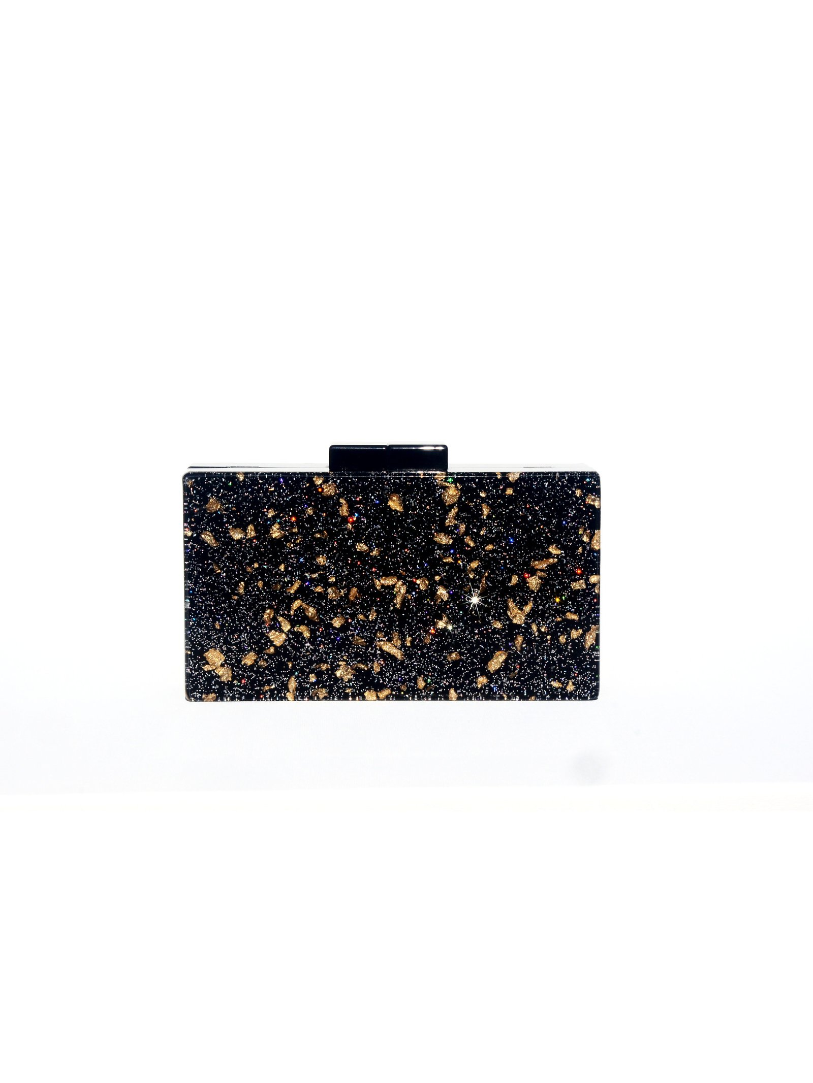 Milanblocks Black Glitter Acrylic Box Clutch