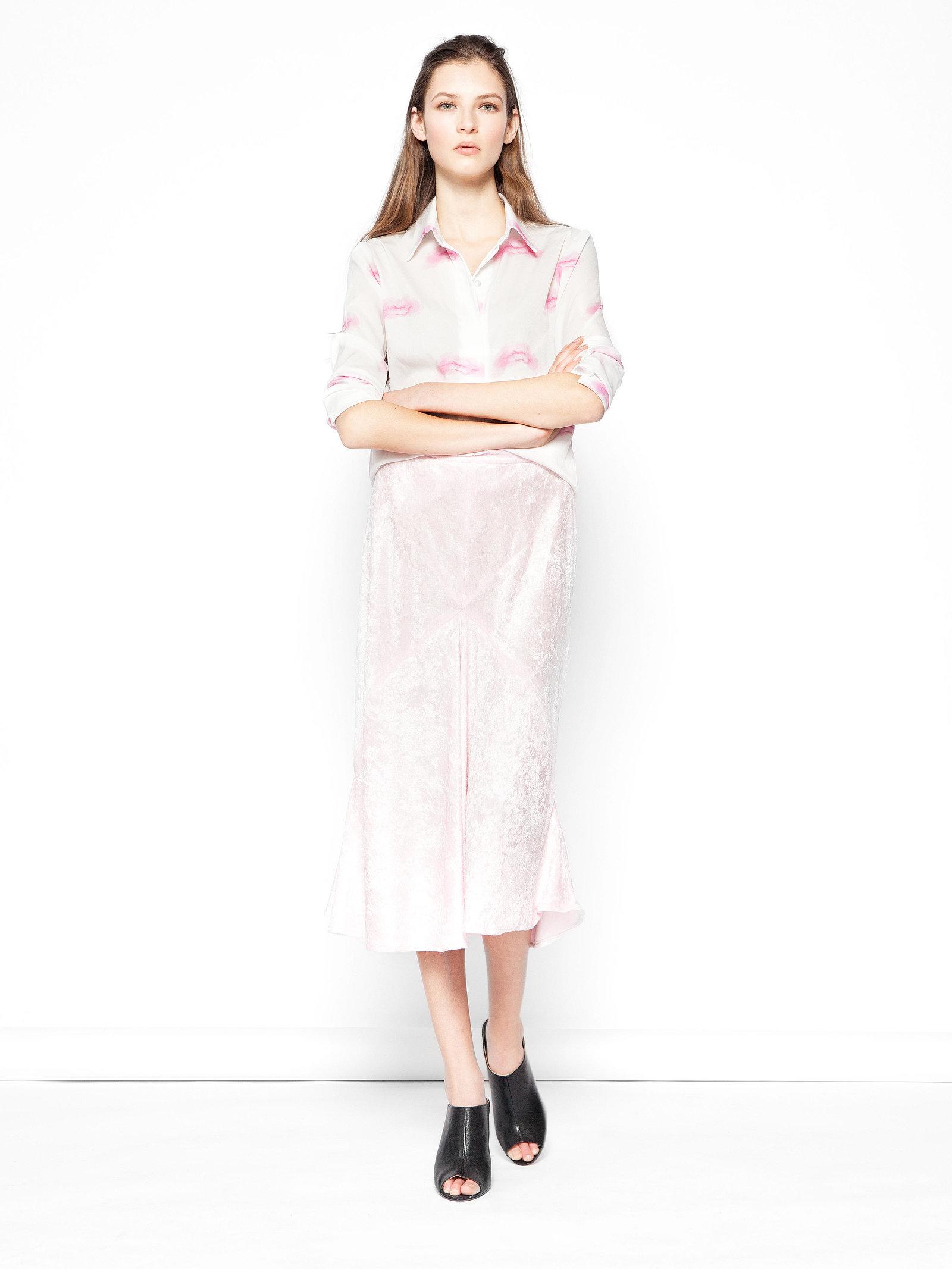 Hilary MacMillan Pink Velvet Skirt