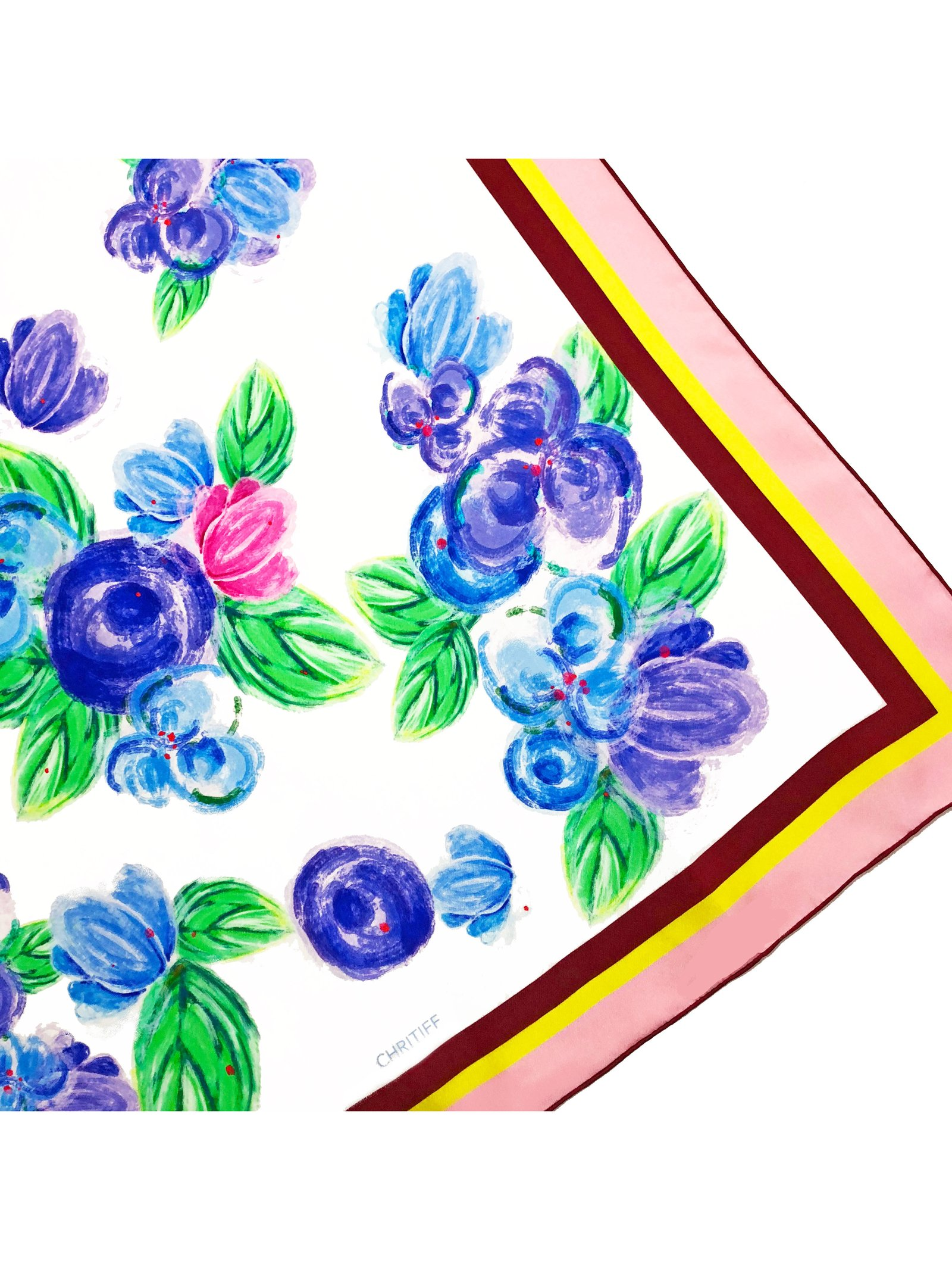 CHRITIFF Cherry Blossom Scarf (Azure Blue) 70cm